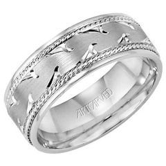 Waves for Him 14K White Gold Engraved Comfort Fit Band 11-WV7352W