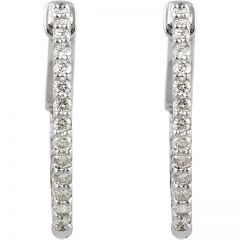 14K White 1/2 ct tw Diamond Inside-Outside Hoop Earrings