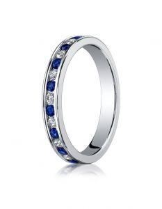 18K White Gold Ladies 3mm Channel Set Diamond & Blue Sapphire Eternity Ring  51356118KW