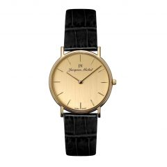 14K Gold and Leather 3 ATM Jacques Michel Watch Style# JM-12001