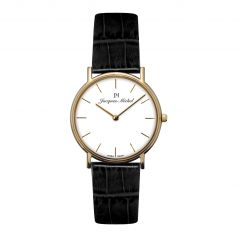14K Gold and Leather 3 ATM Jacques Michel Watch Style# JM-12003