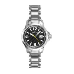 Stainless Steel and Black Carbon Fiber Watch for Ladies with Luminous Dial and Hands from Jacques Michel Style# JM-12182