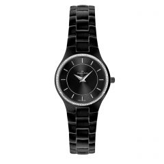 Black IP Plated Stainless Steel Genuine Diamond 3 ATM Watch by Jacques Michel Style# JM-12193