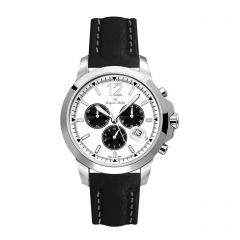 Stainless Steel and Leather Swiss Chronograph Screw Down Diver Crown and Luminous Dial  20 ATM Watch by Jacques Michel Style# JM-12236