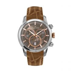 Stainless Steel and Leather Swiss Chronograph 10 ATM Watch by Jacques Michel Style# JM-12237