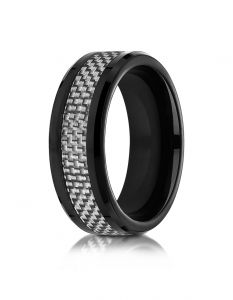 Cobaltchrome™ 8mm Comfort Fit Ring with white carbon fiber Inlay from Benchmark  CF68901CFCC