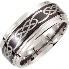 Cobalt Wedding Ring for Men with Black Laser Engraved Design