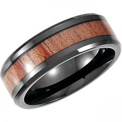 Cobalt 8mm Design Band with Rosewood Inlay