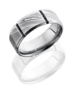 Damascus Silver and Steel -Grooved and Polished