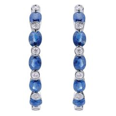 EG10033W44SB 14KT White Gold Hoop Earrings with Blue Sapphires and Diamonds from Gabriel and Co
