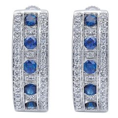 EG10238W44SA Gabriel and Co Hoop Earrings Blue Sapphires and Diamonds on 14KT White Gold
