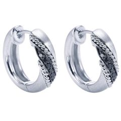 EG10969SVJBD Silver Huggies Earrings with Black Diamonds from Gabriel and Co