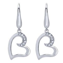 EG11849SVJWS 925 Silver and White Sapphire Drop Earrings from Gabriel and Co