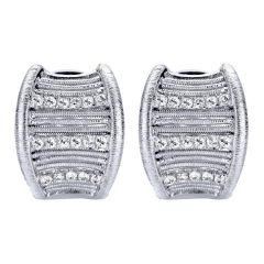 EG11916SVJWS Silver Huggies Earrings with White Sapphires from Gabriel and Co