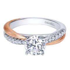 ER10300T44JJ 14K White/Rose Gold Contemporary Criss Cross Engagement Ring from Gabriel and Co