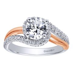 ER10308T44JJ 14K Two Tone White and Rose Gold Bypass Engagement Ring from Gabriel and Co