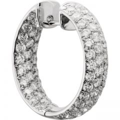 18K White 4 ct tw Diamond Hoop Earrings