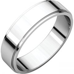14k White 5mm Flat Edge Band Style GNG-1031