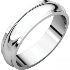 14k White 5mm Half Round Edge Band Style GNG-1028