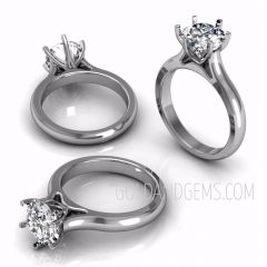DOMINIQUE Platinum Diamond Solitaire by Gold and Gems