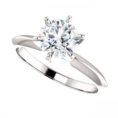 14K White Gold 6-Prong Round Solitaire Ring Mounting