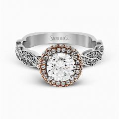 MR2133 18K White and Rose Gold Halo Engagement Ring from Simon G