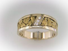Gold Nugget and Diamond Ring #ACA-388-038