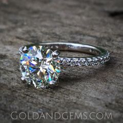 Petite Sparkle Thin Diamond Engagement Ring by Gold and Gems