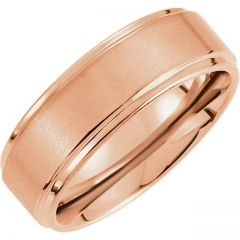 Tungsten and Rose PVD 8.3mm Satin Finished Ridged Band GNG-1023