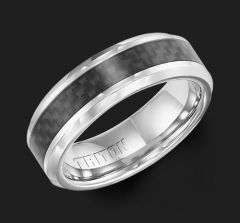 11-3357Q Cobalt Comfort Fit Wedding Ring with Black Carbon Fiber Inlay by Triton