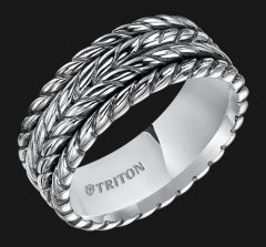 Sterling Silver Multi-Rope Comfort Fit Band With Black Oxidation 11-4929SV