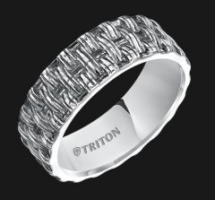 Sterling Silver Woven Comfort Fit Band with Black Oxidation 11-4931SV