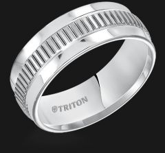 White Tungsten Step Edge Comfort Fit band with Center Texture 11-5238HC
