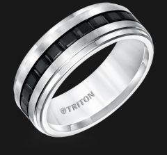 Step Edge Black and White Tungsten Comfort Fit Band 11-5407MC