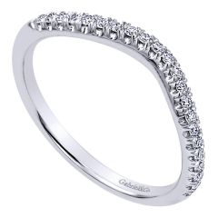 WB10789W44JJ 14K White Gold Contemporary Curved Wedding Band from Gabriel & Co.